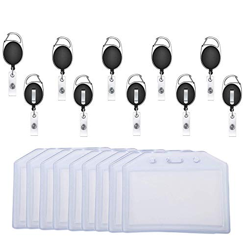 10 x Retractable ID Badge Reel Holder Identity Pass Black Keychain Belt Clip UK